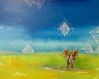 Elephant painting, acrylic on wood