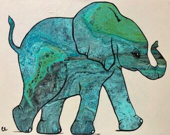 Shades of Blue - Elephant Painting