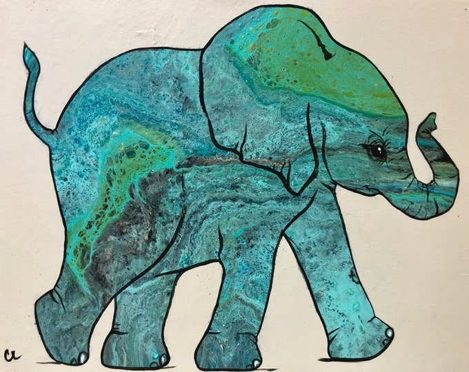Shades of Blue - Elephant Painting
