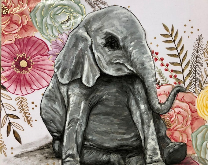 Sitting Pretty Baby Elephant Painting