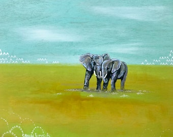Trunk to Trunk Elephants Painting