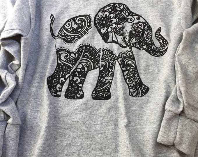 Bohemian Up-Trunk Elephant XS kid's longskeeve tee-shirt