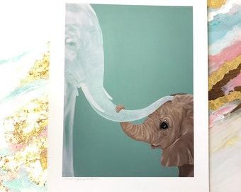 Elephant Art Paper Print Ghost Mom