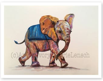 Baby Elephant in Blue Blanket Watercolor Print