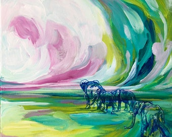 The Traveling Herd Elephant Painting