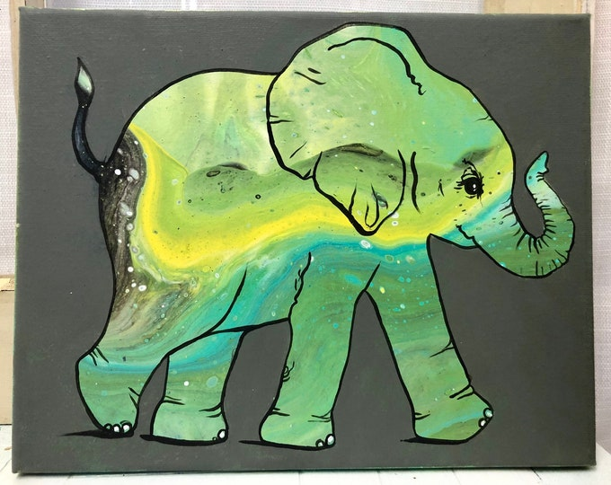Green Galaxy Elephant Painting