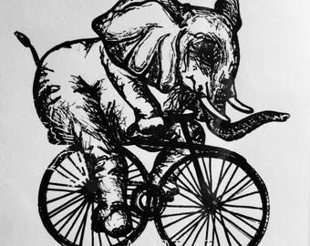 Paper Art Print - Elephant Riding A Bike