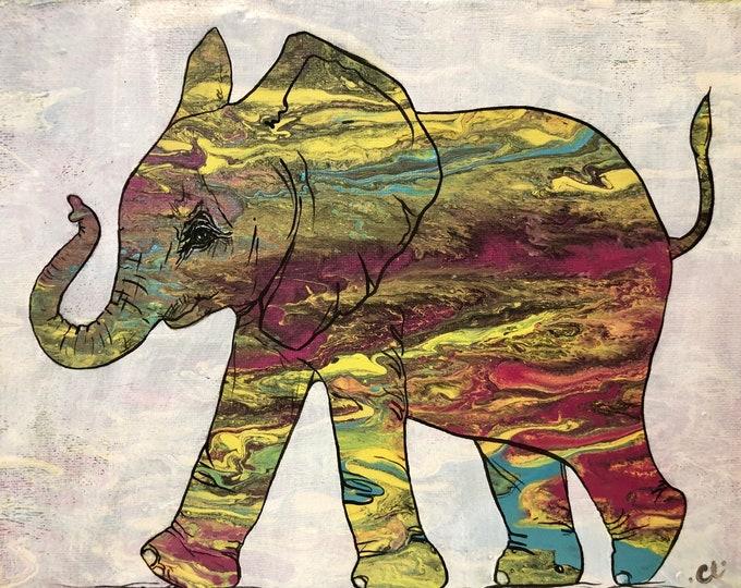 Elephant Painting neon funky