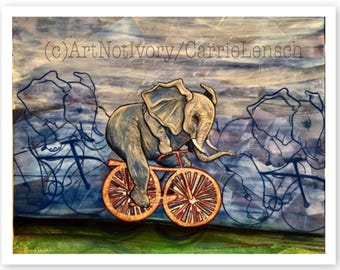 Fast Elephant on Bike Print