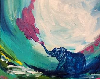 Elephant Painting Whimsical