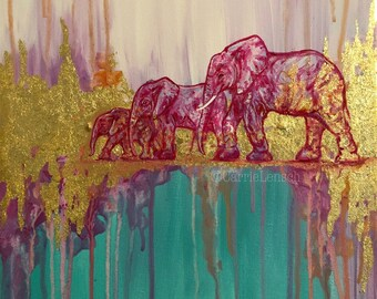 Pink Elephants Painting