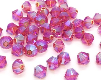 12pc Swarovski Crystal 5mm Rose Bicone 5328 Beads; Pink; October Birthstone