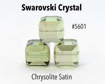 Chrysolite Satin 5601 -Green Swarovski Crystal Cube Beads for Jewelry Making (8mm, 10mm) Large Green Square Crystal Beads, Wholesale Crystal