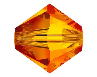 Fire Opal - 4mm, 5mm, 6mm - Swarovski Crystal Bicone - 5301