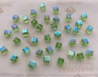 Peridot AB 5601 Swarovski Elements Crystal Cube Bead (4mm, 6mm, 8mm)