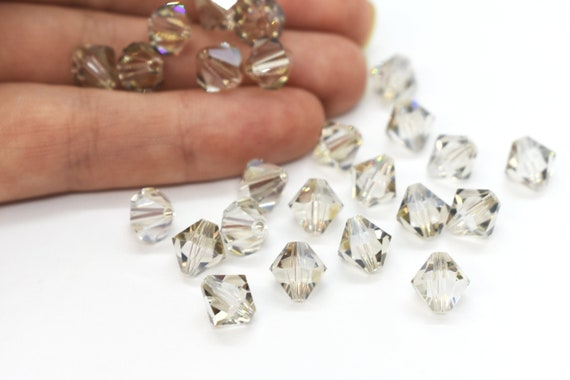 6 5mm Swarovski 5301 Bicones-Crystal Silver Shade Please read item description