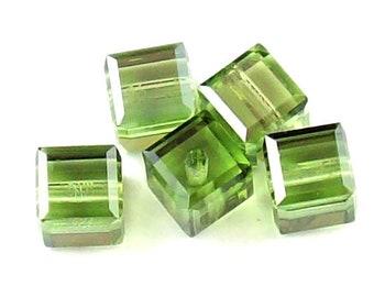 Peridot Satin 5601 Swarovski Elements Crystal Cube Bead (4mm, 6mm, 8mm, 10mm)