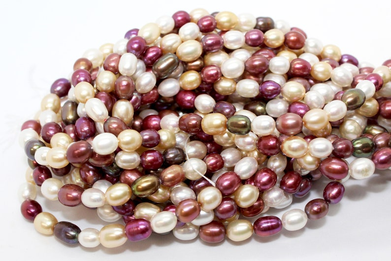 Multi Colored Wholesale Pearl Beads for Jewelry Making Purple and White Rice Freshwater Pearls A Grade 6x8mm Maroon Bulk Pearl Beads