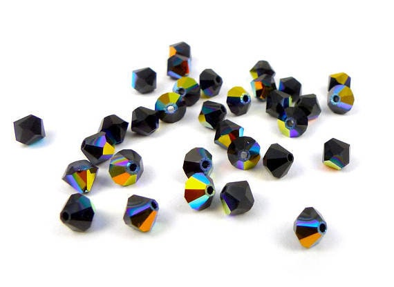 5301 30 Swarovski ® cristal perlas bicone 4mm jet hematite Art