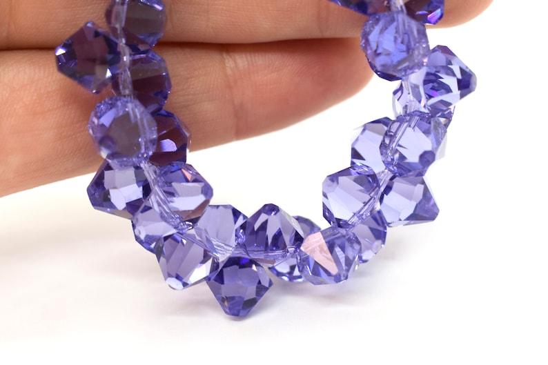 10mm Tanzanite Blue Colored Bicone Crystal