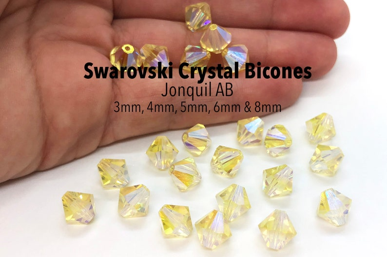 1e379e9c40136 Jonquil AB 5301/5328 - Light Yellow Swarovski Crystal Bicone Beads 3mm 4mm  5mm 6mm 8mm Bulk Jewelry Supplies and Wholesale Crystal Beads