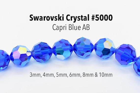 36 pcs Swarovski Element 5000 faceted 4mm Round Ball Beads Crystal Aquamarine