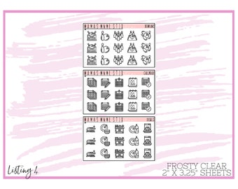 MNML STIX- Minimal Black Icons 4 | Clear Matte Planner Stickers