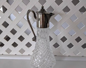 Vintage Cut Glass Carafe or Decanter With Silver Plate Top