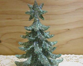 "Vintage Miniature 7 1/2"" Inch Acrylic Christmas Tree"