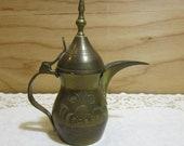 Small Vintage Middle Eastern Brass Coffee Pot Patent 86710 Turkish Dallah Coffee Tea Pot