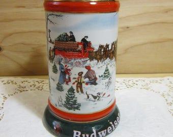 "Vintage 1991 Budweiser Collector's Series ""The Season's Best"" Beer Stein"