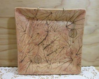 Vintage Malabar Pottery Handmade Plate Wall Decor With Leaf Impression
