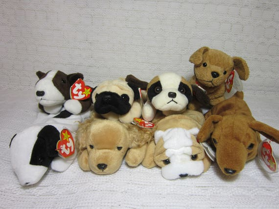 Collectible Dog Ty Beanie Babies Bernie Bruno Pugsly  437bb7ee7e9