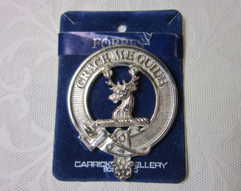 FORBES Scottish Clan Crest Badge Brooch Pin by Carrick Jewellery Scotland