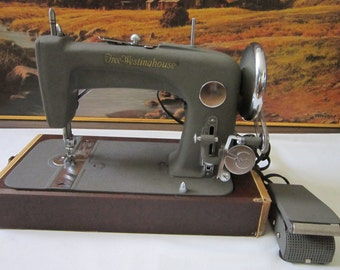 Vintage Free-Westinghouse Electric Sewing Machine Model-52F in Original Carrying Case