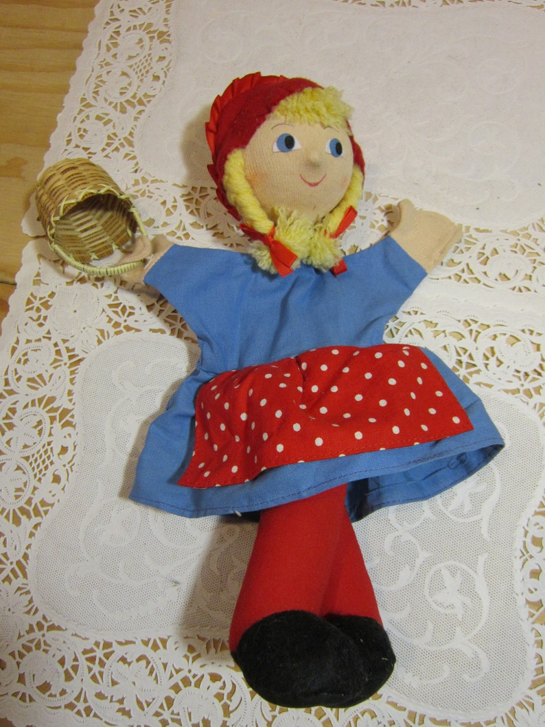 Vintage Petra Toys Puppet Collection Little Red riding Hood Cloth Hand Puppet 13 Long Made in Czech Republic