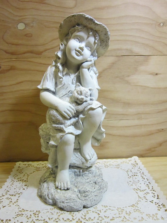 Shabby Chic Little Girl And Kitten Distressed Garden Statue By | Etsy