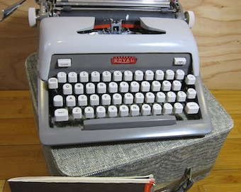 Vintage Royal Futura 800 Portable Manual Typewriter with Original Case and Manual
