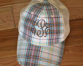 e3743017 Monogram Plaid Ball Cap, Distressed Plaid Baseball Hat, Distressed Trucker  Hat, Personalized Ball Cap, Ladies Plaid Ball Cap, Baseball Cap