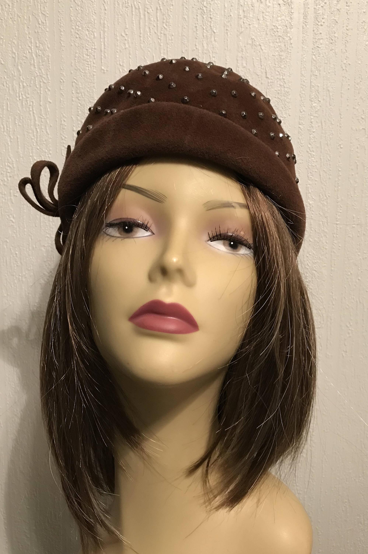 011c49bf65d6b Heads Up 1940s Cloche Skull Cap Brown Wool Felt w Studs