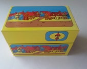 Syndicate Mfg. Co. Tin Metal Recipe Box Yellow with Small Village and Streetlamp