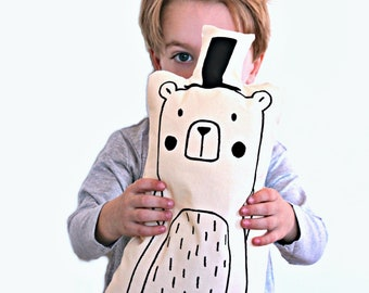 Bear hat XL stuffed animal, 44cm, eco cotton, silkscreen eco-friendly ink