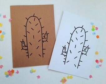 Cactus card with envelope, confetti, silkscreen