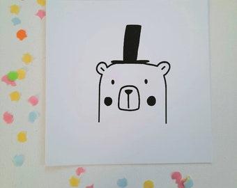 Bear hat card + envelope, confetti, silkscreen