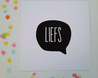 Love card with envelope, confetti, silkscreen