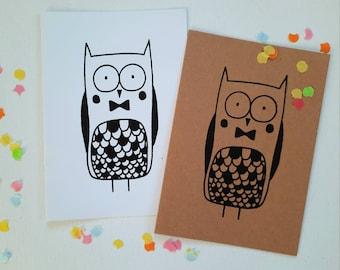 Owlmetstrik card with envelope, confetti, silkscreen