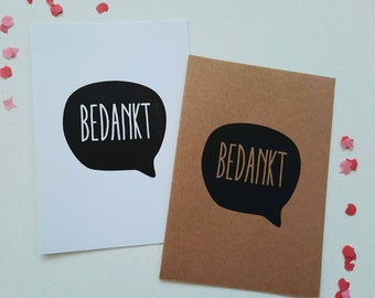 Thanks card with envelope, confetti, silkscreen