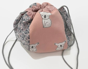 Koala & Floral Drawstring Bag, Japanese Kinchaku, Project Bag, Knitting Bag, Drawstring Pouch, Carryall, Purse