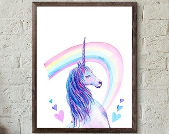 Unicorn - Unicorn Art - Unicorn Party Birthday - Print Art - Unicorn Poster - Rainbow Art - Rainbow Birthday Party Decor - Unicorn Print