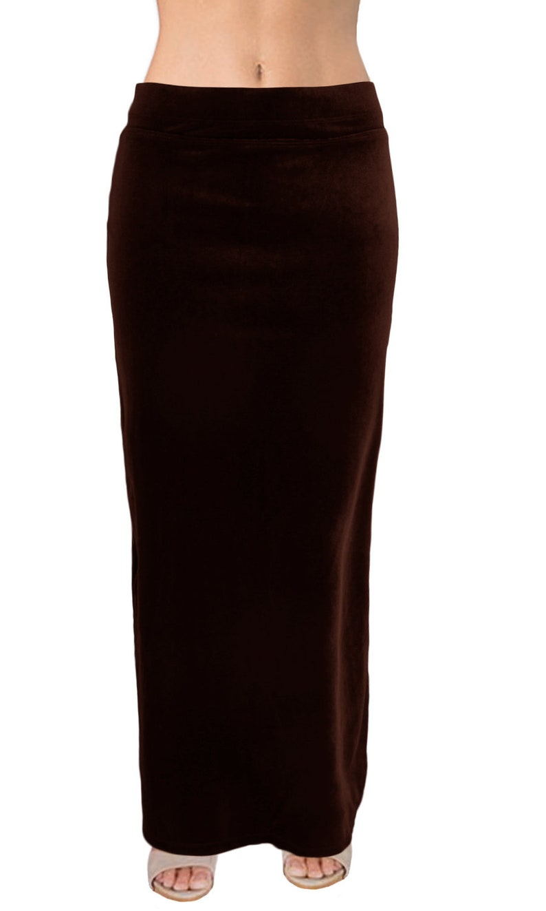 Stretch Velvet Long Maxi Skirt with Flat Elastic Waistband and Flared Back Special Occasion  Ooh la la